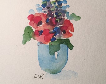 Watercolor Flowers Card / Hand Painted Watercolor Card