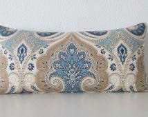 Ethan Allen anjali blue latika delta medallion linen blue taupe decorative pillow cover accent pillow