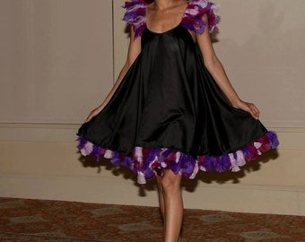 size 4: Handmade One-of-a-Kind designer Aline black Satin Dress with purple feathers - relaxed fit - easy fit - swing