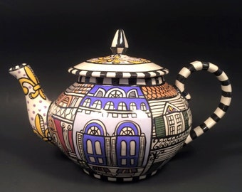 New Orleans Architecture Themed teapot and 4 cups