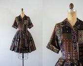 RESERVED | 1950s Floral Menagerie patchwork day dress / 50s autumn print