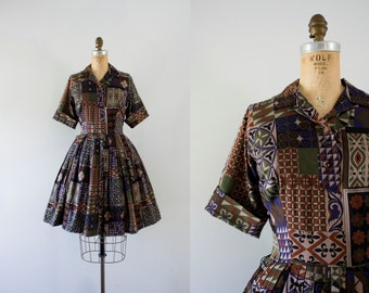 1950s Floral Menagerie patchwork day dress / 50s autumn print