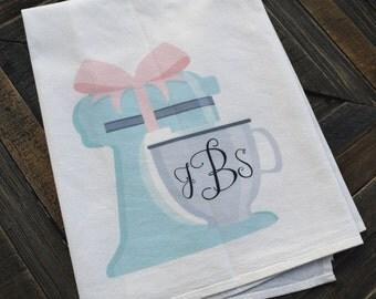 Personalized Monogram Mixer Flour Sack Tea Towel, bridal shower gift, engagement, wedding, Monograms and Mimosas