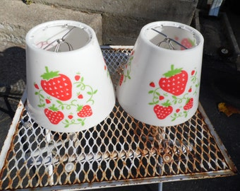 Lamp Shades with strawberries vintage pair hard plastic white with red strawberries and green leaves 6.25 inches tall by 20.5 inches around