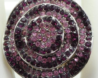 Purple Rhinestone Ring/Statement Ring/Gift for Her/Two Tone/Fall/Winter Jewelry/Adjustable Ring/Under 15 USD