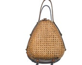 wicker ETIENNE AIGNER leather handles purse drop handle upright free standing bag bucket unique preppy kitsch box shell one size collectible