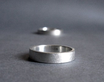 Sterling Silver Ring - Matte Brushed Finish - 4 mm wide - 3 mm wide
