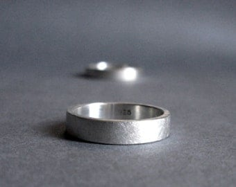 Sterling Silver Ring - Matte Brushed Finish - 4 mm wide - US Size 12 Ready To Ship