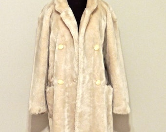 vintage faux fur coat - 1960s GHQ France ivory faux fur coat