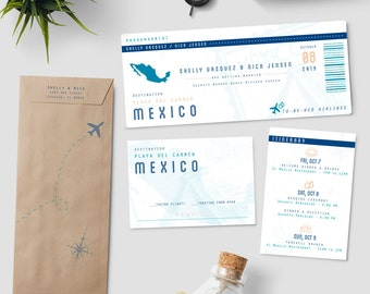 "Boarding Pass destination wedding invitation suite, ""To Be Wed Airlines"", plane ticket wedding invitation; SAMPLE ONLY"