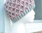 Crochet Lattice Hat - Grey and Pink