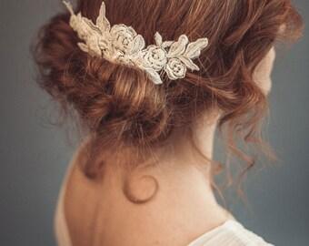 Beaded bridal lace headpiece Wedding headpiece Lace bridal hair comb Bridal headdress