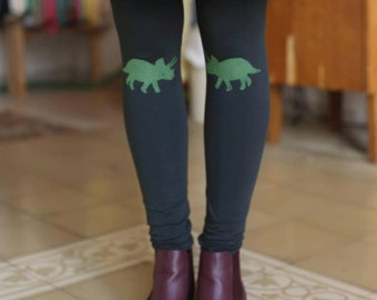 Sale, Green leggings, womens leggings, green tights, dinosaur print, hunter green, womens tights, high waist, dark green