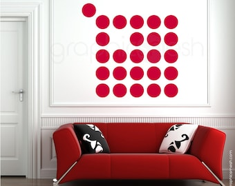 Wall decals 25 x 5 inch POLKA DOTS Modern interior decor - Simples shapes by Graphics Mesh