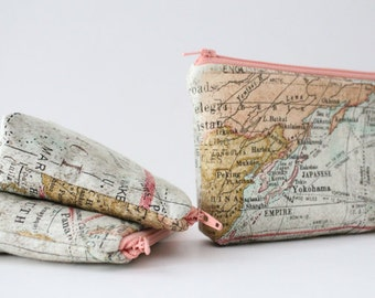 simple pouch -- vintage map