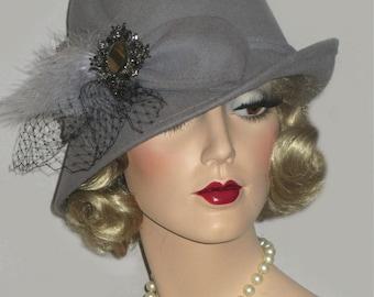 SHADES OF GREY Fedora, Grey Wool Hat, Asymmetrical Cloche, Medium Grey Cloche Hat, Wool Felt Mad Men Fedora, Grey Cloche With French Netting