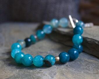 Blue Agate bracelet, blue agate gemstone bracelet, stacking stone bracelet, layering bracelet, silver bracelet, agate stone bracelet