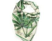 "SALE Marijuana Cannabis Gypsy Silk Scarf / Weed Ascot neckerchief Bandana / Botanical Illustration / Sqaure 26""x26"" 100% silk  / A3301"
