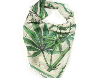 "Marijuana Cannabis Gypsy Silk Scarf / Weed Ascot neckerchief Bandana / Botanical Illustration / Sqaure 26""x26"" 100% silk  / A3301"