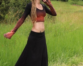 Size M/L Hemp Organic Cotton Lycra Bleached Galactic Cropped Top