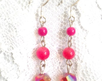Cherry Quartz, Pink Flourite, Rose Swirl Czech Glass and Silver Drop Bead Dangle Earrings - Mid Century Modern - Vintage Inspired