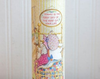 Vintage Holly Hobbie Candle, Glitter Glass, Sugar Coated Glass, Cottage Home Decor, 1970s Holly Hobbie, Retro Little Girl, Encouragement
