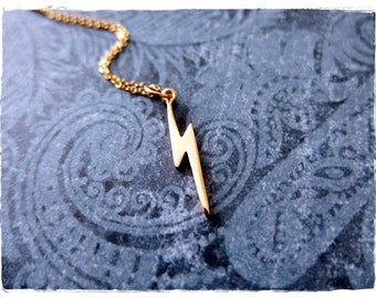 Tiny Gold Lightning Bolt Necklace - Tiny Bronze Lightning Bolt Charm on a Delicate 14kt Gold Filled Cable Chain or Charm Only
