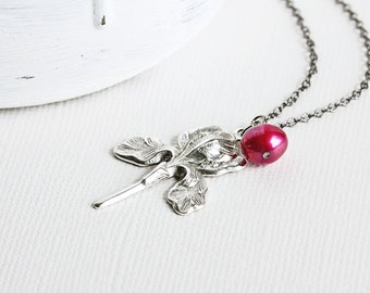 Iris Necklace - Silver Flower Necklace with Dark Pink Pearl, Flower Pendant Necklace with Gunmetal Chain, Pearl Necklace, Two Tone Jewelry
