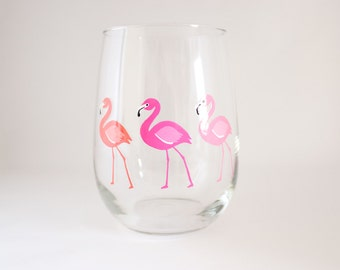 Ombre Pink Flamingos Hand Painted Wine Glass - Housewarming Gift - Cocktail Party Barware - Cocktail Glasses - Party Favors - Gift Under 50
