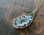 Natural Geode Necklace, Druzy Agate Crystal Slice, Black White Grey, Gold Electroplate Drusy