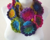 Crochet Scarf, Flower Scarf, Crochet necklace, Colorful infinity  Scarves, circle Accessories, Loop Neckwarmer, Pink Blue Green Yellow