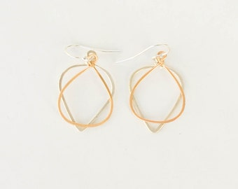 Small Mixed Metal Hoops, Two-Tone, Bridesmaid Gift, Silver & Gold, Earrings