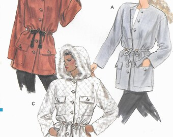 Vogue 7683 Hooded jacket,  Drawstring Waist  Size 6,  8, 10 UNCUT