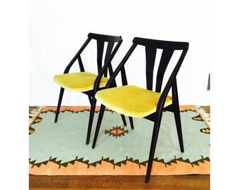 Mid Century Wood Side Chairs / A Pair / FREE SHIPPING