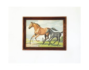 "Vintage Paint by Numbers Horse / Mare and Colt Painting / 17"" x 14"""