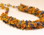 Knitted crocheted wire yellow blue tread necklace Sun agate lazuli jewelry unique accessory exclusive Regina Doseth handmade Lithuania Eu