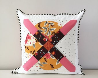 Quilted Throw Pillow Cover | Decorative Accent Pillow | Modern Couch Pillow | Pink, White, Mustard Patchwork Pillow | 16 x 16 Pillow Cover