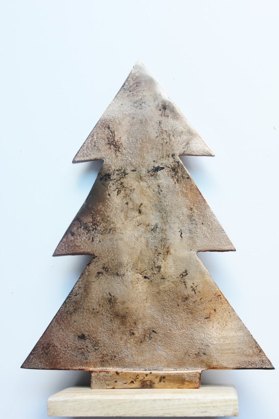 Copper christmas tree painted distressed rustic metal
