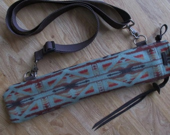 Native Flute Whistle Case, Pipe Bag, Medicine Pouch  - Plush Lined 18 x 4.5