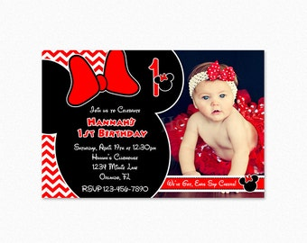 Minnie Mouse Birthday Party Invitation, Red Chevron Minnie Mouse Birthday Invitation, Personalized, Printable and Printed