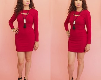 90s Bodycon Dress // Bandage Dress // Red Mini Dress // Cut Out Dress // Party Dress // Club Wear