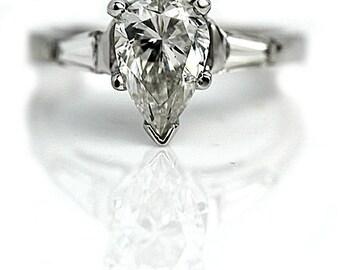 Pear Cut Engagement Ring GIA Pear Shape Diamond Ring Platinum 1.73ctw Vintage Diamond Engagement Wedding Anniversary Ring Size 5!