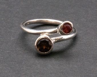 Twist Dual Stone Ring, Brown Smokey Quartz Red Garnet Gemstone Sterling Silver Ring, Delicate Cocktail Ring, Size 7.5 Ring, Quartz Jewelry
