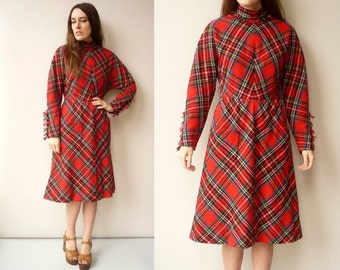 1970's Vintage Tartan Checked Fringed Wool Midi Dress Size Small