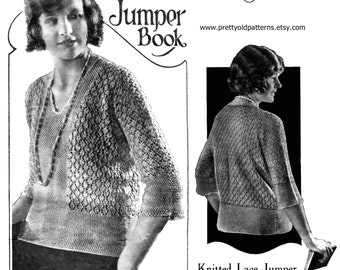 """Wonderful Early 1920s Lace Jumper in One Piece 34"""" to 36"""" Bust Bestway 132 Vintage Knitting Pattern Pdf Download"""