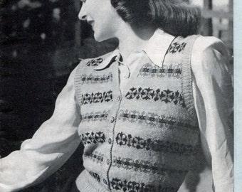 Gorgeous Fair Isle Sleeveless Cardigan Waistcoat 34 to 36 Bust Patons 183 Vintage Knitting Pattern Download