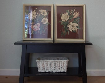 1940s-50s Framed Pair of Paintings - Airbrushed Floral - De Jonge - Commercially Produced Wall Art