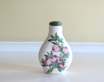 Vintage Snuff Bottle Hand Painted Porcelain with fruit branches/Bird