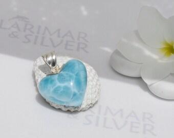 Larimarandsilver pendant, Lovely Mermaid 3 - sky blue Larimar heart, topaz blue heart, turtleback, love charm, aqua handmade Larimar pendant