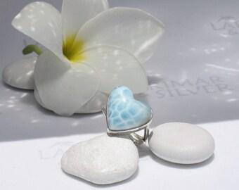 Larimarandsilver ring size 6.5, My inner Mermaid, topaz blue Larimar heart, turtleback, ice blue heart, crystal heart, handmade Larimar ring